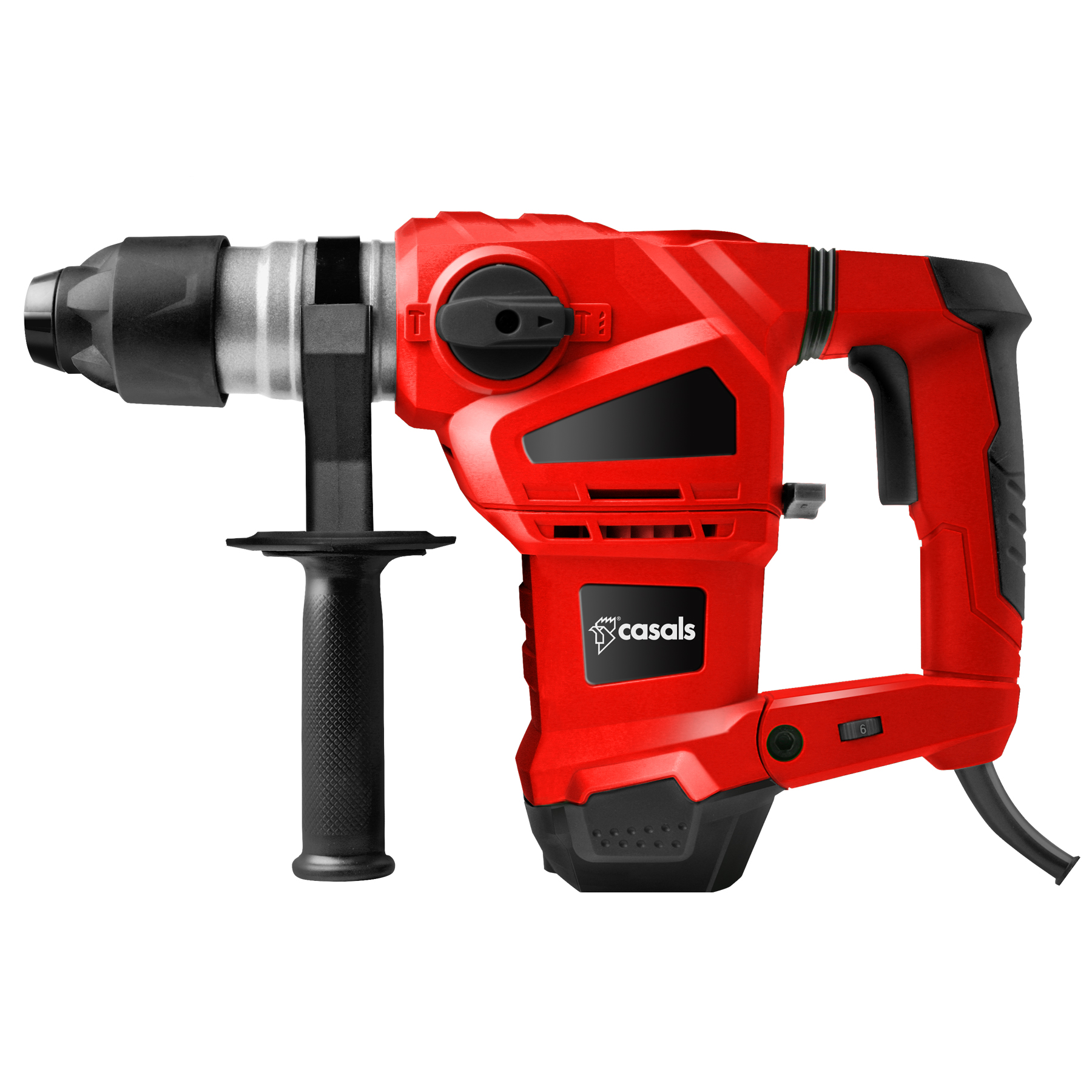 Casals Drill Rotary Hammer With Auxiliary Handle Plastic Red 3 Function 1
