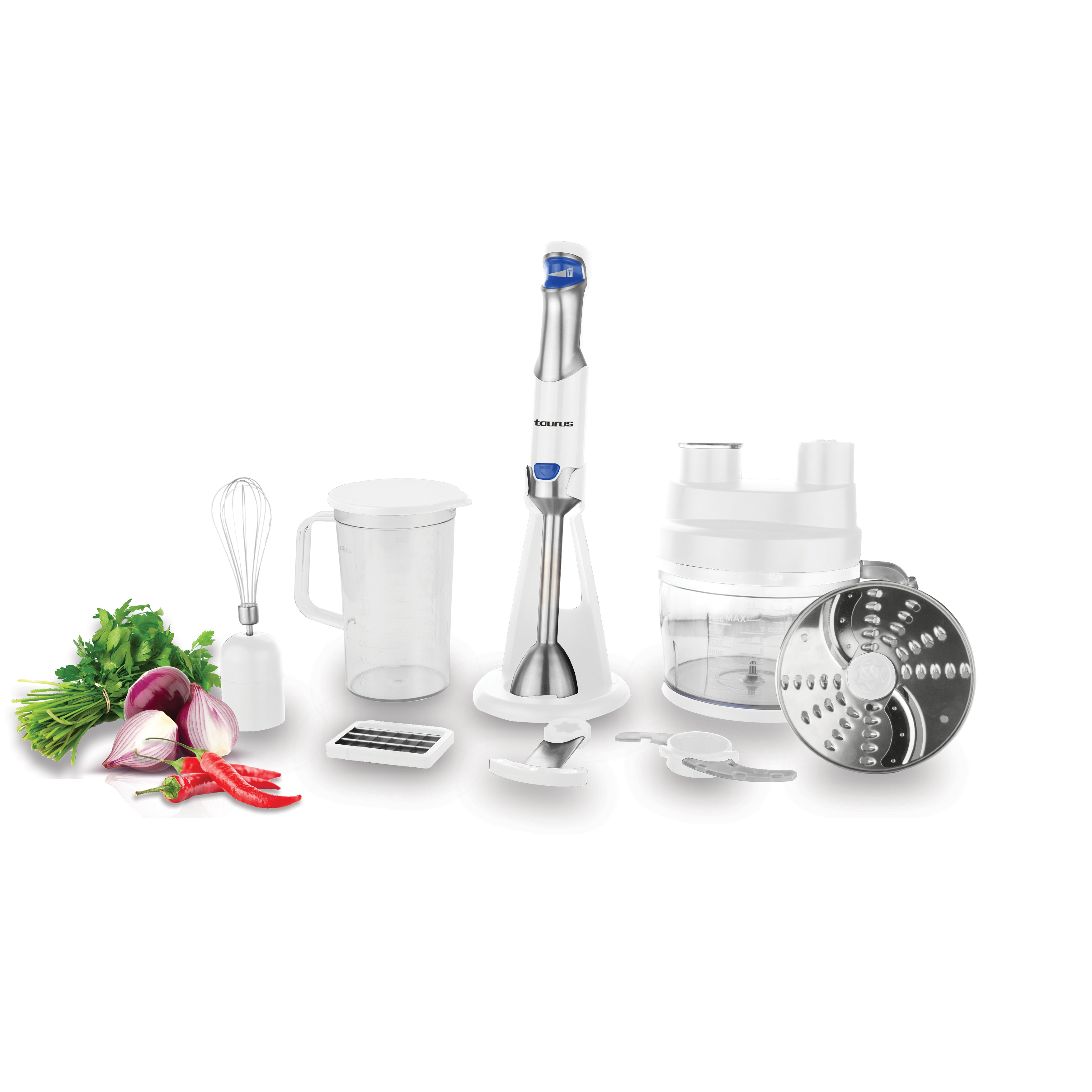 """Taurus Food Processor With Attachments Stainless Steel White """"Batedora 800"""""""