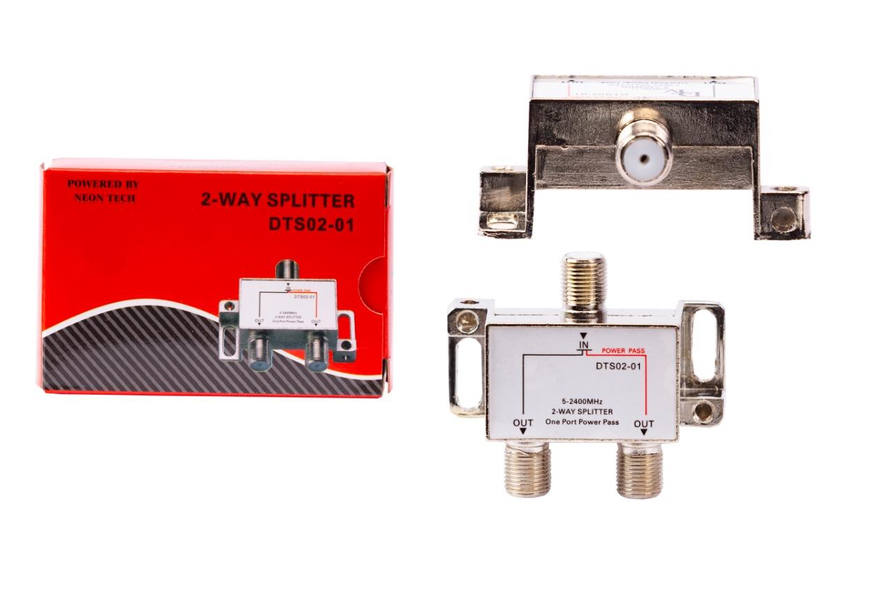 DTV 2 Way Splitter All Legs Power Pass (DTS02-01)