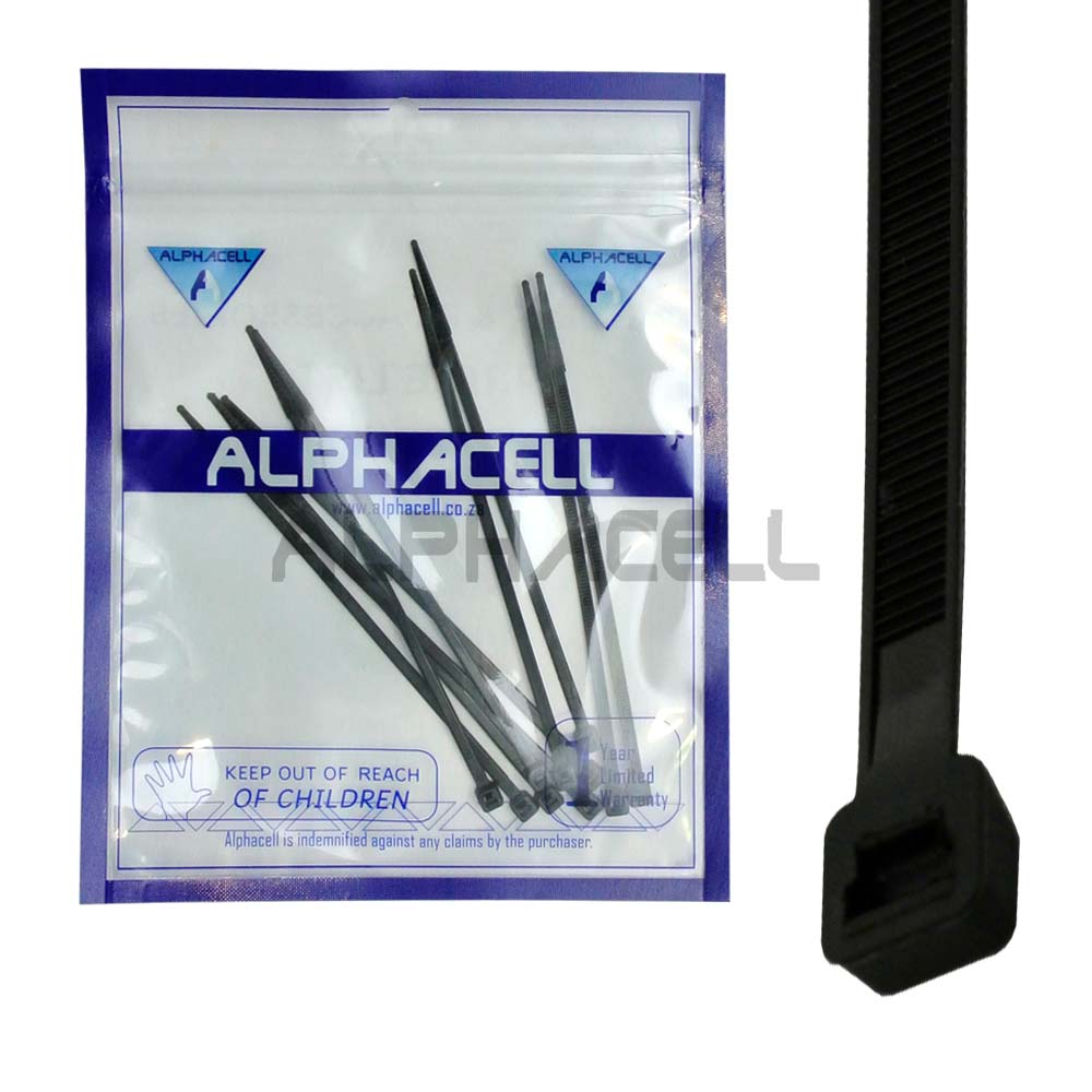 CABLE TIE - 150mmx3.6mm BLACK - 10 pack