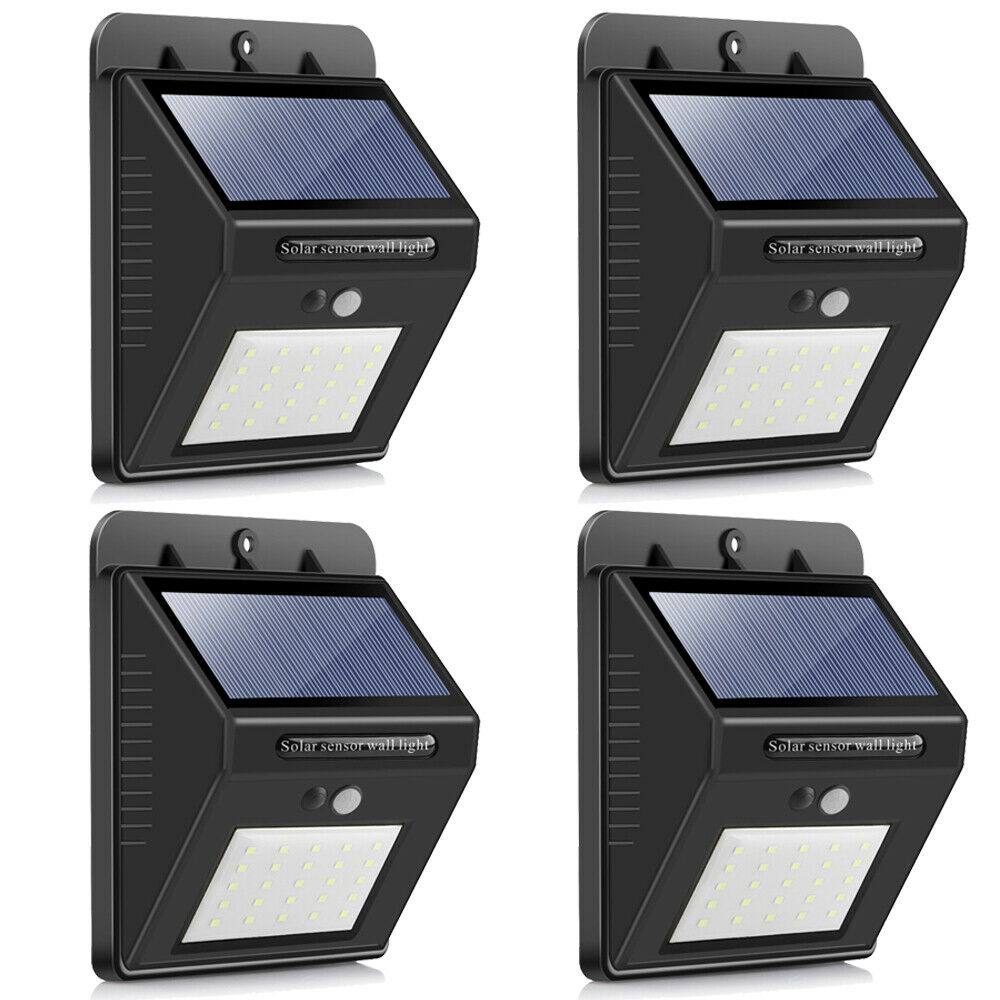 SQI. 25 Led Solar Powered LED Wall Light with Dim mode, PIR sensor+Night sensor Pack 4