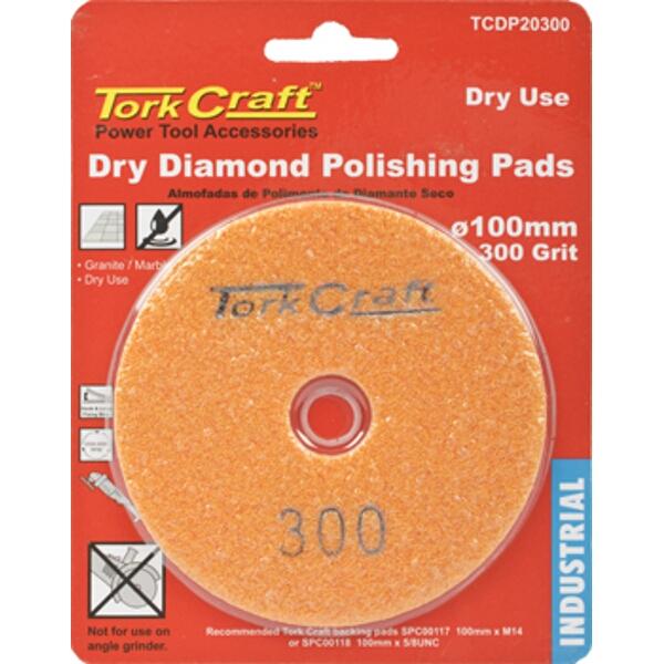 100MM DIAMOND POLISHING PAD 300 GRIT DRY USE