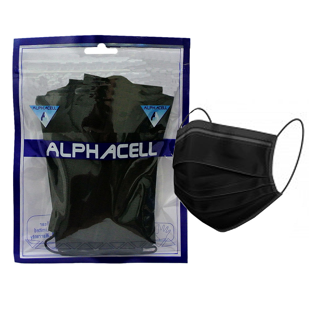 FACE MASK - 3 ply disposable BLACK - 10 PIECE