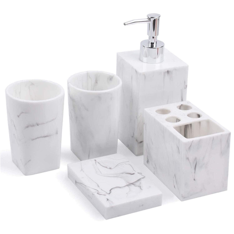 5Pcs Resin Bathroom Tumbler Accessories Set