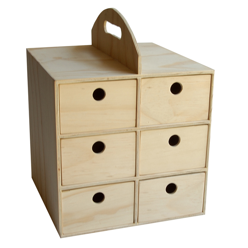 6 Drawer Utility Box with Handle - Natural