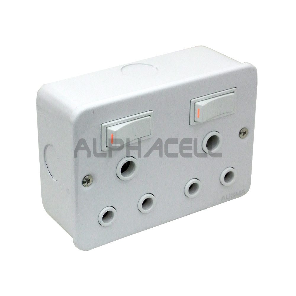 SWITCH INDUSTRIAL SOCKET DOUBLE (white) A-MD01