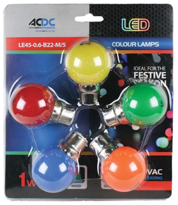 1W B22 Lamp Ball Type Mixed Colour 5 Pack