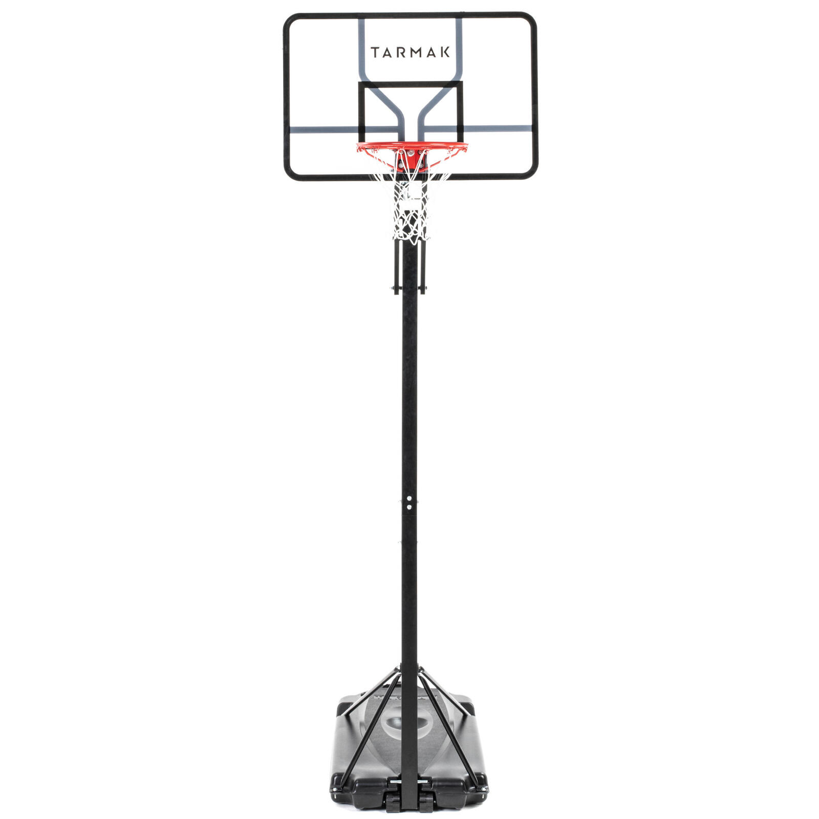 Pro basketball hoop stand black adjusts from 2.2m to 3.05m