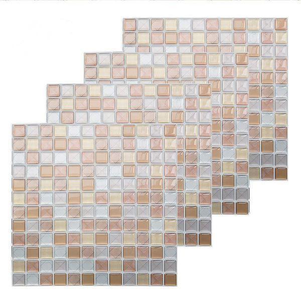 4Pcs 3D Self Adhesive Backsplash Tile Sticker