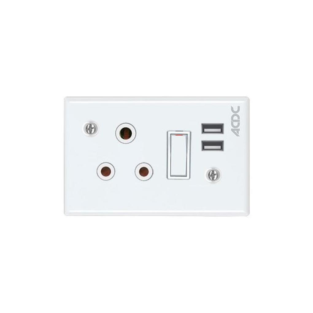 Classic Sockets - 2 x 4 1 x 16A Switched Socket + 2 USB - White