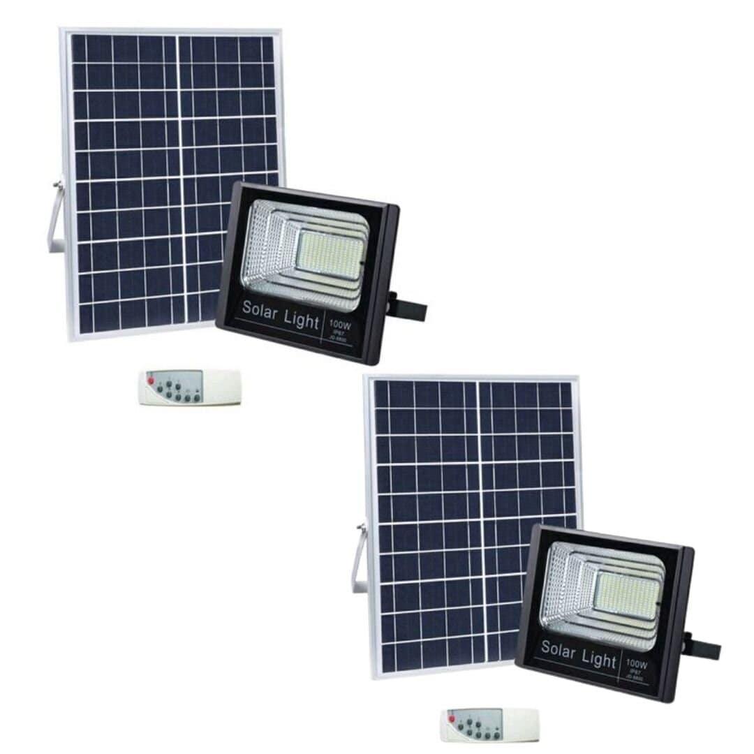 100W LED Solar Flood Light - Pack of 2