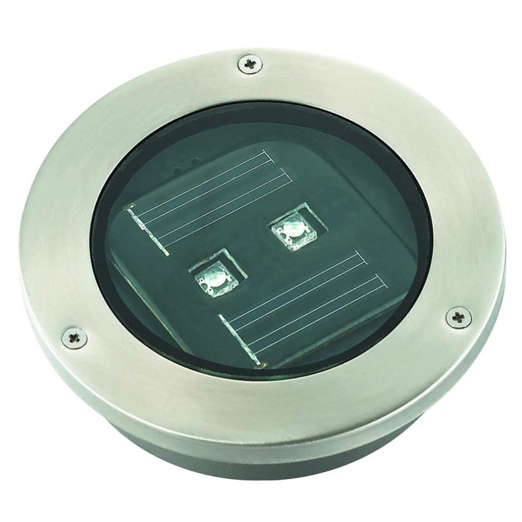 LED S/Steel Tile Solar Light 120x120x75DIA. 2xLED